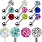 14G Surgical Steel Czech Crystal Ball Barbell Bar Tongue Ring Studs Piercing Pin