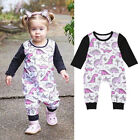 Newborn Baby Girls Long Sleeve Dinosaur Romper Bodysuit Jumpsuit Outfits Clothes