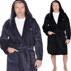 Mens Insignia Fleece Hooded Collar Dressing Gown Soft Robe Bath Robe Lounge Wear