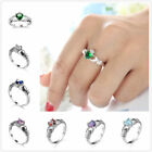 Angle Heart CZ Diamonique Real Gold Plated Wedding Promise Finger Rings Sz6-10