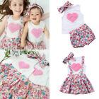 Newborn Baby Kids Girl Sister Matching Cotton Clothes T-shirt Dress Pants Outfit