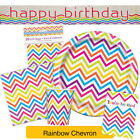 RAINBOW CHEVRON Party Range (Decorations & Tableware) {Unique} (1C)
