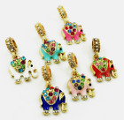 6 pcs  Elephant Crystal European Gold Pendant Charm Beads Fit Necklace Bracelet image