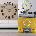 Large 3D DIY Mirror Surface Art Wall Clock Sticker Home Office Hanging Decor