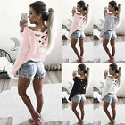 Fashion Womens Cloth Summer Long Sleeve Tops Casual Blouse Loose Cotton T-Shirts