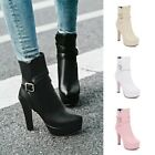 Womens Round Toe Fashion Ankle Boots Platforms Zipper High Heels Casual Booties