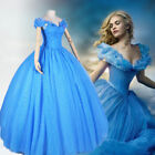 2017 Fashion Deluxe Princess Cinderella Adult Dress Cosplay Disney Movie Costume