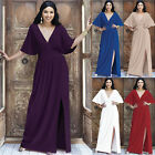 KOH KOH Long Kimono Short Sleeve Elegant Slit Sexy VNeck Elegant Maxi Dress Gown