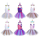 Girl Kid Unicorn Outfits Baby Rainbow Tutu Dress Party Carnival Princess Costume