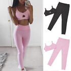 Women's Sports Vest Top +Leggings Set Running Gym Yoga Fitness Tracksuit