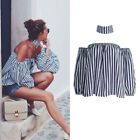 Sexy Women Off-Shoulder Blouse Loose Shirt Casual Stripe Blouse T-shirts Tops