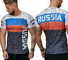 Herren T-Shirt Flag Slim Fit - Russia Russland Sbornaja WM 2018 WC World Cup