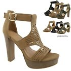New Women Gladiator Platform Sandals Chunky High Heel Open Toe Dress Shoes