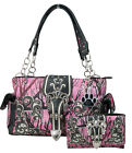 Western Camo Camouflage Rhinestone Buckle Concealed Carry Handbag Wallet Set