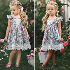 Baby Kids Girls Toddler Princess Sleeveless Floral Party Pageant Dress Clothes
