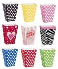 8 Popcorn TREAT BOXES Polka Dots Spots Birthday Party Favour Loot Paper Bags{1C}