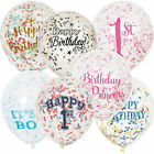 "PACK 6 X 12"" CONFETTI BALLOONS BIRTHDAY 1ST PRINCESS PINK BLUE GOLD BLACK SILVER"