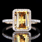 Women Fashion 925 Silver Ring Huge Citrine Wedding Party Jewelry Gift SIZE 6-10
