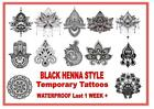 BLACK HENNA style temporary tattoos shoulder arm back waterproof last 1 WEEK+
