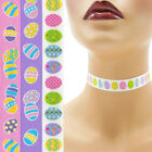 Easter Choker 5/8 inch (16 - 17 mm) Custom necklace decorated eggs printed satin