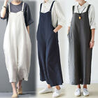 Women Wide Leg Dungaree Strap Playsuits Jumpsuits Sleeveless Loose Long Trousers