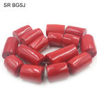 Natural Column Red Sea Bamboo Coral Gemstone Jewelry Making Beads Strand 15""