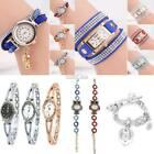 Women Casual Wrap Crystal Charm Bracelet Watch Quartz Analog Wrist Watch RR6