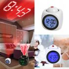 LCD Digital Alarm Clock Multi-function Voice Talking LED Projection Temperature
