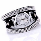 Fashion Women Watch Bracelet Crystal Leather Dress Analog Quartz Wrist Watches u