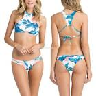 Women Padded Crop Top Bikini Set 2 Piece Leaf Print Cut Out Bottom EN24H