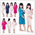 Girls Kid Sleepwear Wedding Flower Night Dress Silk Satin Kimono Robes Bathrobe
