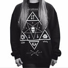 harajuku style Star print Skull Cross sweatshirts winter new pullover   JR