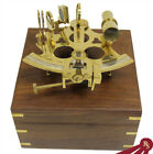 """6"""" BRASS SEXTANT - with Wood Box - NAUTICAL ASTROLABE"""