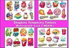 SHOPKINS collection temporary tattoos waterproof last 1 WEEK+ choice of 4 sets