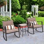 3pcs Garden Rattan Wicker Cushioned Rocking Chair Coffee Table Furniture Set Us
