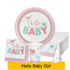 Hello Baby Girl - Baby Shower Range Tableware Balloons Decorations Supplies - CP