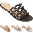 Ladies Evening Sandals Party Cut Out Womens Comfort Flat Fancy Shoes Size 3-8