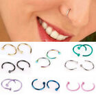 Small Thin Surgical Steel Open Nose Ring Hoop Piercing Stud 7 Colours TY