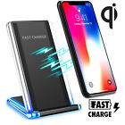Qi Wireless Fast Charger Charging Pad Stand for Samsung Galaxy S9 S8 iPhone X 8