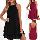 Women Sexy Strappy Loose Casual Solid Short Mini Dress Summer Beach Dress Hot