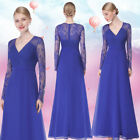 Ever-Pretty US Long Sleeve Formal Evening Dresses V-neck Lace Wedding Gown 08692