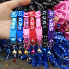 Adjustable Dog Collars Pet Cat Puppy Buckle Nylon Collar with Bell Paw Charm