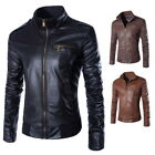 Men's Fashion Faux Leather Biker Coats Slim Jackets Zipper Outwear Fashion Tops