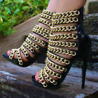 Women Sexy Gladiator Boot Roma Sandal High Stiletto Heel Hollow Out Chai Shoes