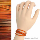 Orange Leather Cord Wrap Bracelet Custom Length to 72 inches Handmade necklace
