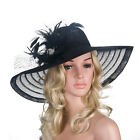 A265 Womens Formal Kentucky Derby Hats Wide Brim Feather Church Sun Floppy Cap фото