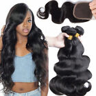 Brazilian Body Wave 3 Bundles 8A Virgin Unprocessed Human Hair with 4x4 Closure