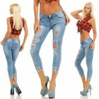 10804 Sexy Damen Jeans Röhre Haremscut Knöchellang Ankle Slim-Fit Hose Destroyed