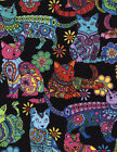 Timeless Treasures Cat Coloring Quilt Fabric Black Multi Style C4815