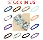 Unisex 8mm Grade A Gemstone Semi Precious Round Beads Stretch Bracelet 7.5""